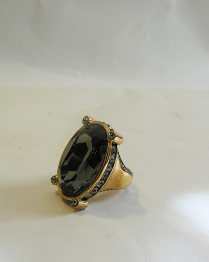 AKKAD AKKAD Black Diamond Crystal Statement Ring Size 7.5