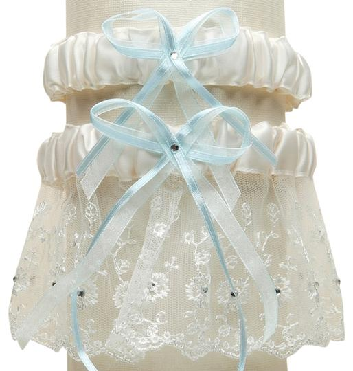 Mariell Embroidered Wedding Garter Sets with Scattered Crystals - Ivory with Blue G021-BL-I