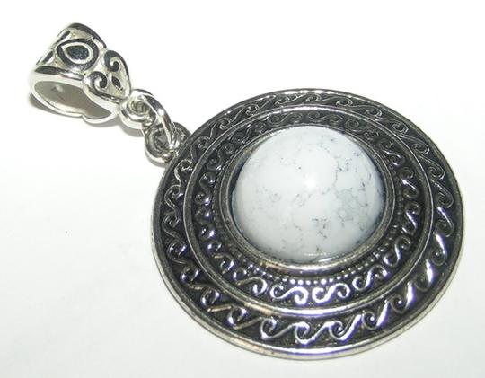 Bogo Free Faux White Turquoise Pendant W/ssp Chain Choice Of Length