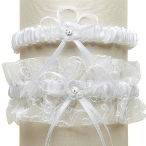 Mariell Vintage Wedding Garter Set with Floral Embroidered Tulle - White G018-W-W