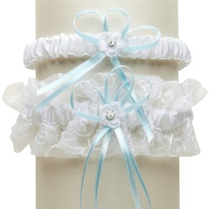 Mariell Vintage Wedding Garter Set with Floral Embroidered Tulle - White with Blue G018-BL-W