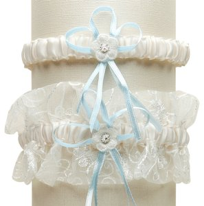 Mariell Vintage Wedding Garter Set with Floral Embroidered Tulle - Ivory with Blue G018-BL-I
