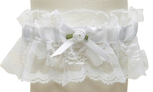 Mariell Hand-Sewn Vintage Lace Wedding Garters - White 205G-W-W