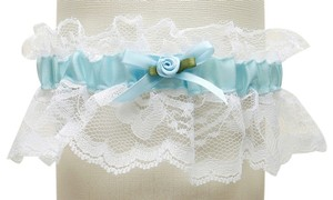 Mariell Hand-Sewn Vintage Lace Wedding Garters - White with Blue 205G-BL-W