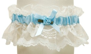 Mariell Hand-Sewn Vintage Lace Wedding Garters - Ivory with Blue 205G-BL-I