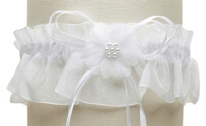Mariell Organza Bridal Garters with Baby Pearl Cluster - White 819G-W-W