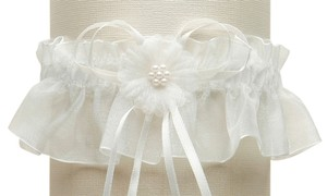 Mariell Organza Bridal Garters with Baby Pearl Cluster - Ivory 819G-I-I