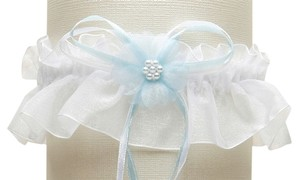 Mariell Organza Bridal Garters with Baby Pearl Cluster - White with Blue 819G-