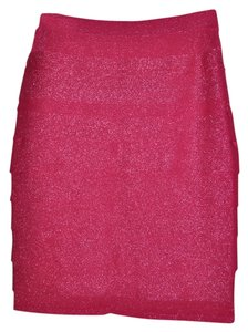 Carmen Marc Valvo Metallic Sparkle Pencil Skirt Fuchsia