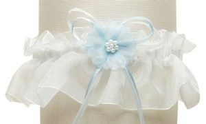 Mariell Organza Bridal Garters with Baby Pearl Cluster - Ivory with Blue 819G-BL-I
