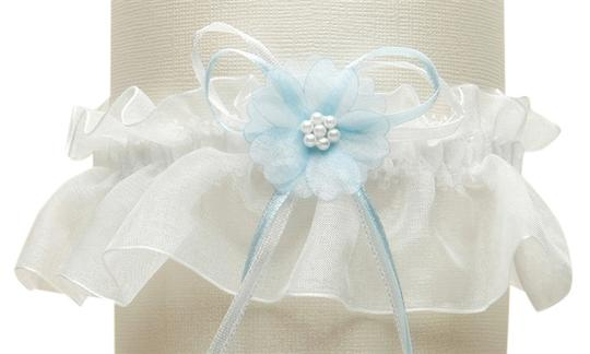 Mariell Organza Bridal Garters with Baby Pearl Cluster - Ivory with Blue 819G-