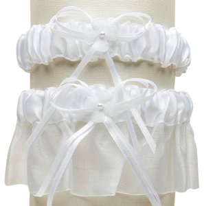 Mariell Sleek Satin and Organza 2 Pc. Bridal Garter Set - White G016-W-W