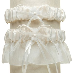 Mariell Sleek Satin and Organza 2 Pc. Bridal Garter Set - Ivory G016-I-I