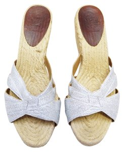 Christian Louboutin Criss Cross Raffia Slide Wedge 6.5 M Silver Sandals