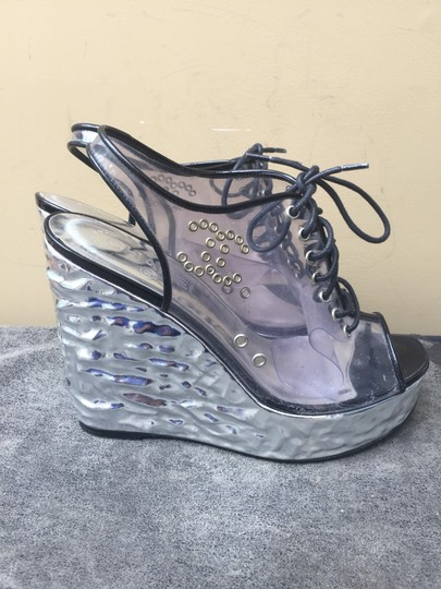 Chanel silver Wedges