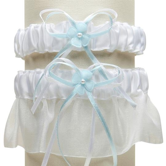 Mariell Sleek Satin and Organza 2 Pc. Bridal Garter Set - White with Blue G016-BL-W