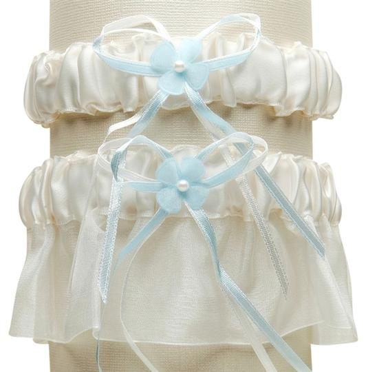 Mariell Sleek Satin and Organza 2 Pc. Bridal Garter Set - Ivory with Blue G016-BL-I