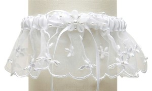 Mariell Embroidered Wedding Garters with Rice Pearl Accents - White 886G-W-W