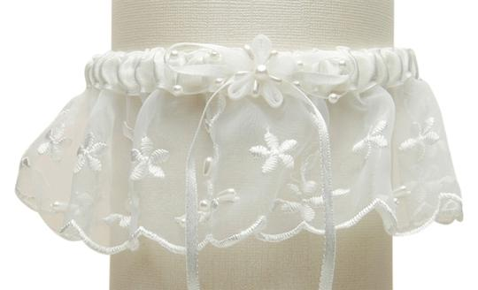 Mariell Embroidered Wedding Garters with Rice Pearl Accents - Ivory 886G-I-I