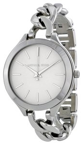 Michael Kors Michael Kors White Dial Silver-tone Chain Twist Stainless Steel Ladies Watch