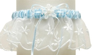 Mariell Embroidered Wedding Garters with Rice Pearl Accents - Ivory with Blue 886G-BL-I