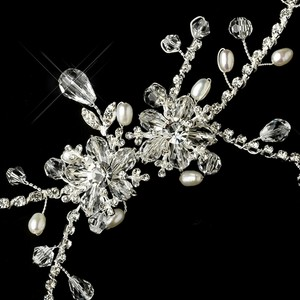 Elegance By Carbonneau Silver Clear Crystal & Pearl Headpiece