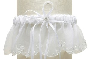 Mariell Organza Bridal Garters with Pearls and Chain Edging - White 1255G-W-W