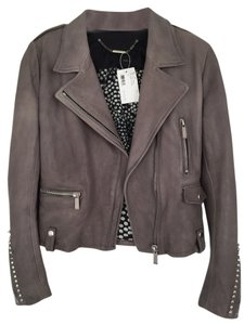 Barbara Bui Leather Studded Exclusive Grey Leather Jacket