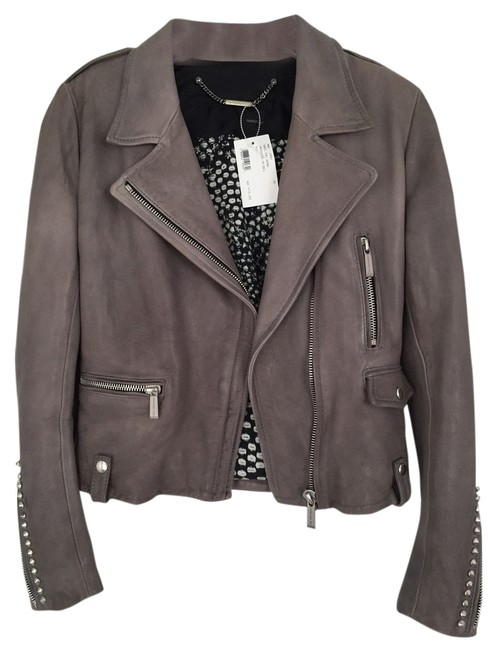 Barbara Bui Studded Exclusive Grey Leather Jacket