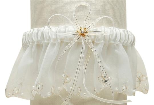 Mariell Organza Bridal Garters with Pearls and Chain Edging - Ivory 1255G-I-I