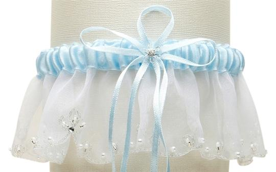 Mariell Organza Bridal Garters with Pearls and Chain Edging - White with Blue 1255G-BL-W