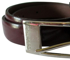 Calvin Klein Calvin Klein Skinny Leather Brown Belt with Silver Buckle SMALL