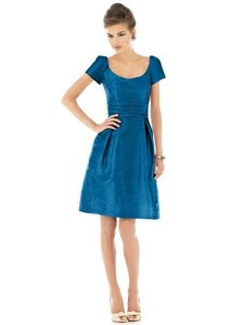 Alfred Sung Mosaic (Rich Blue) Dupioni Silk Style D524 (Discontinued) Retro Bridesmaid/Mob Dress Size 8 (M)