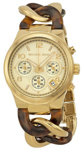 Michael Kors Michael Kors Gold Dial Gold Tortoise Shell Twist Chain Ladies Watch