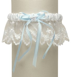 Mariell Vintage Irish Lace Inspired Wedding Garter - White with Blue G029-BL-W