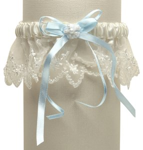 Mariell Vintage Irish Lace Inspired Wedding Garter - Ivory with Blue G029-BL-I