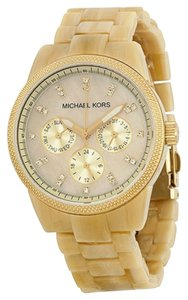 Michael Kors Michael Kors Beige Horn Tan Dial with Crystals Acrylic Ladies Watch