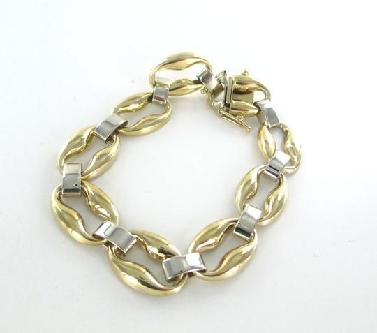 Other 14KT SOLID YELLOW WHITE GOLD BRACELET OVAL LINK PAT FINE JEWELRY BANGLE ROUND