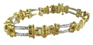 14KT SOLID YELLOW WHITE GOLD BRACELET CABLE HALLMARK BANGLE FINE JEWELRY DESIGN
