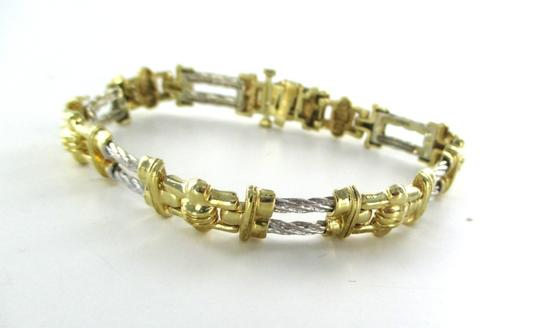 Other 14KT SOLID YELLOW WHITE GOLD BRACELET CABLE HALLMARK BANGLE FINE JEWELRY DESIGN
