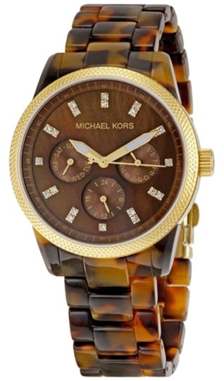 Michael Kors Michael Kors Tortoise Shell Brown Dial with Crystals Acrylic Ladies Watch