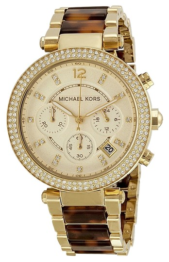 Michael Kors Michael Kors Champagne Dial Crystal Gold and Tortoise Shell Ladies Watch