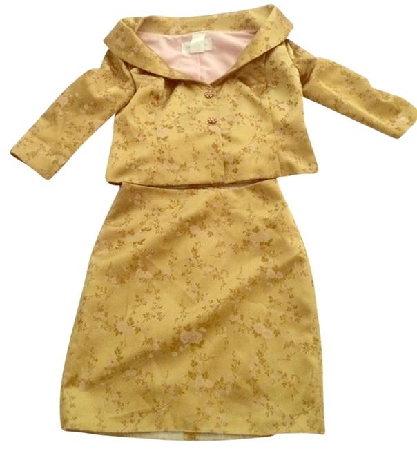 Item - Gold Golden Two Piece Evening Mid-length Cocktail Dress Size 4 (S)