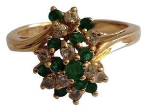 Perfex 14k Gold Emerald & Diamond Ring.