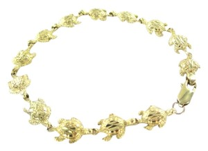 10KT SOLID YELLOW GOLD BRACELET 13 TURTLES BANGLE MARINE SEA OCEAN GOOD LUCK