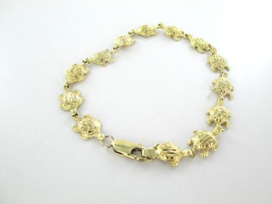 Other 10KT SOLID YELLOW GOLD BRACELET 13 TURTLES BANGLE MARINE SEA OCEAN GOOD LUCK