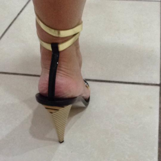Fendi Gold, Silver, Black Pumps