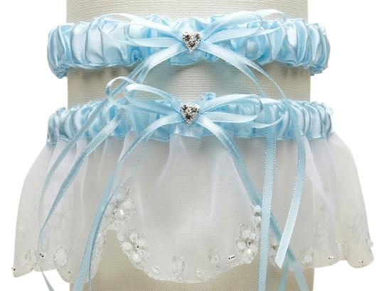 Mariell Bridal Garter Set with Inlaid Crystal Hearts - White with Blue 454G-BL-W