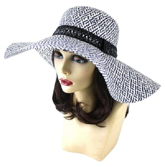 Other FASHIONISTA Chic Blue and White Print Black Accent Beach Sun Cruise Summer Large Floppy Dressy Hat Cap