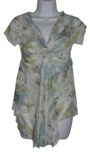 Sweet Pea by Stacy Frati Ethereal Mesh Twist Knot Asymmetrical Anthropologie Top Green